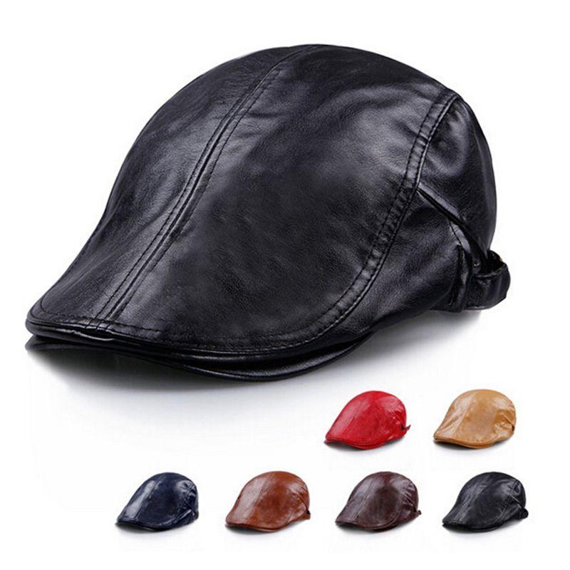 Unisex 2015 nueva primavera boina de cuero hombre Color puro Cap hombre  sombrero Beret alta calidad sombrero de moda para hombre gorro f4ee3c282bf
