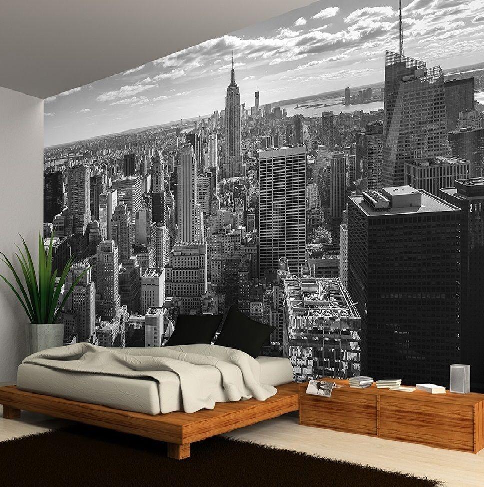 Ciudad de nueva york horizonte negro y blanco papel for Papel pintado ciudades