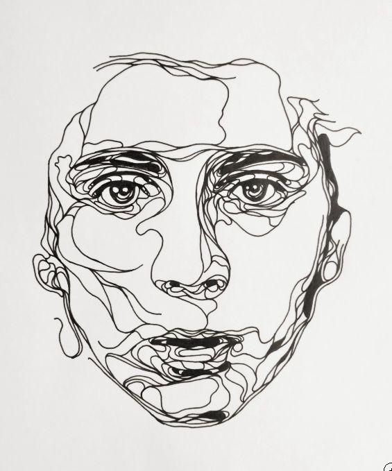Contour Line Drawing Portrait : Kris trappeniers portraits découpés belle portrait and