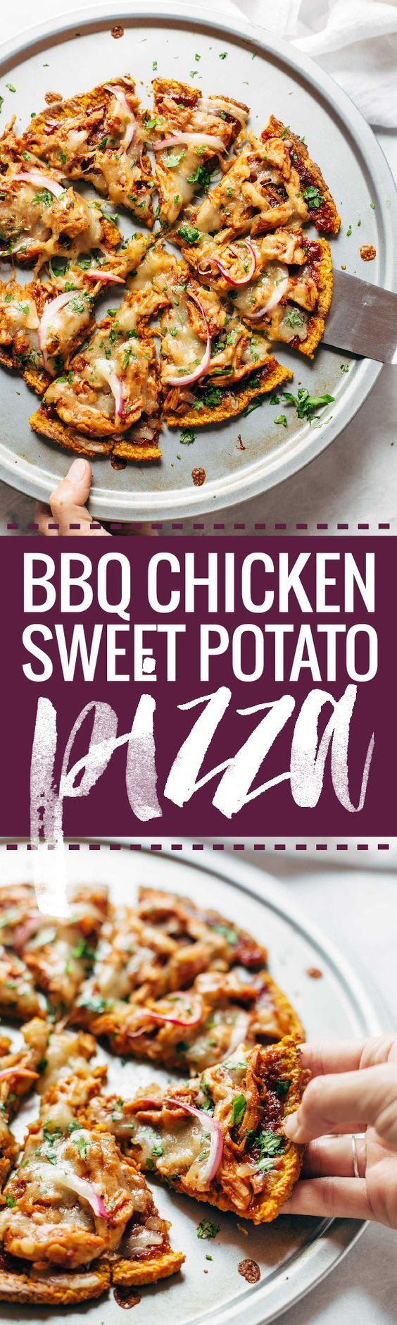 BBQ Chicken Sweet Potato Pizza - made on a 3-ingredient sweet potato crust! easy, delicious, real food pizza. | http://pinchofyum.com
