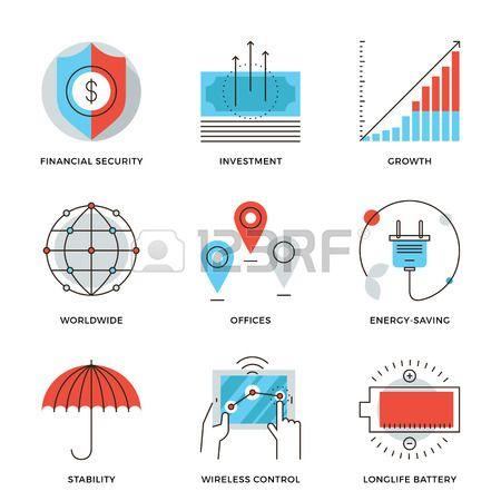 世界中の企業のビジネス お金の成長チャート 金融 セキュリティ エネルギーの節約 会社の安定性の細い線アイコン 近代的なフラット ライン デザイン要素ベクター コレクション ロゴ イラストのコンセプト ラインデザイン ロゴ アイコン