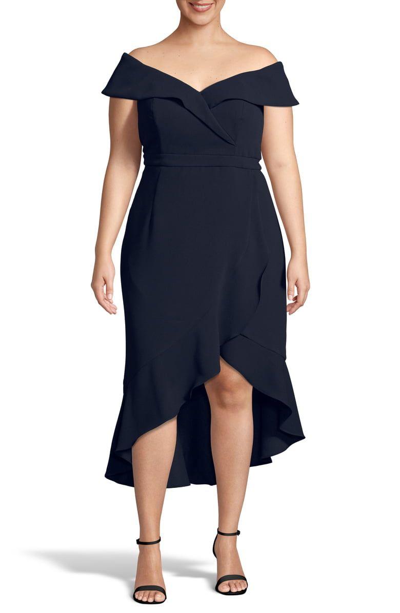 Xscape Off The Shoulder Ruffle Midi Dress Plus Size Nordstrom Midi Ruffle Dress Midi Dress Plus Size Plus Size Wedding Guest Dresses [ 1196 x 780 Pixel ]