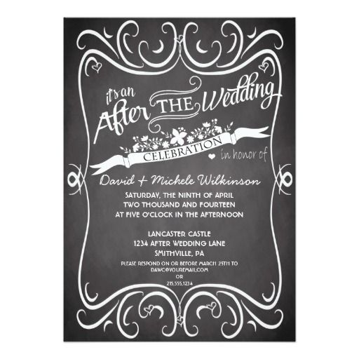 Invitation For Reception After The Wedding: Flowers & Swirls Chalkboard After Wedding IDPP2 Invitation