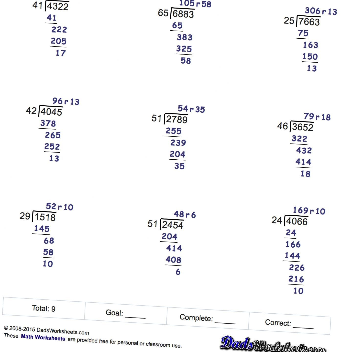 Free printable Long Division worksheets with multiple