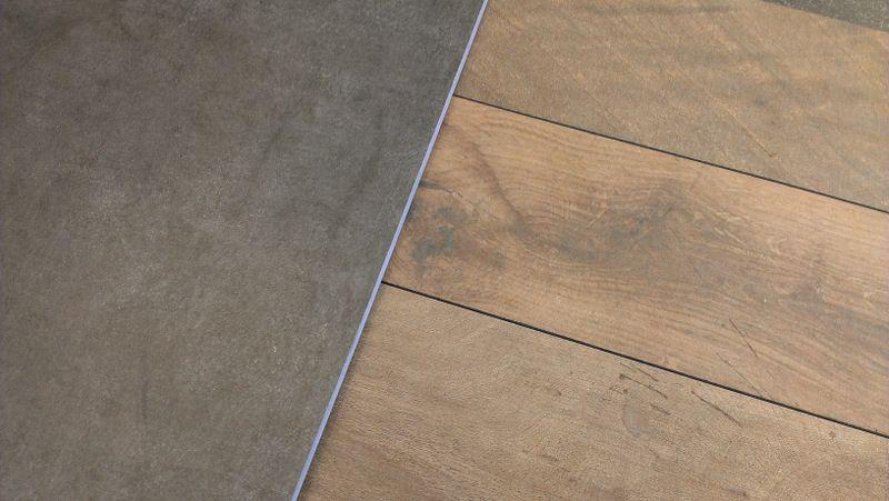 Slate Tile Wood Floor Contrast Schieferfliesen Holzfliesen Holzboden