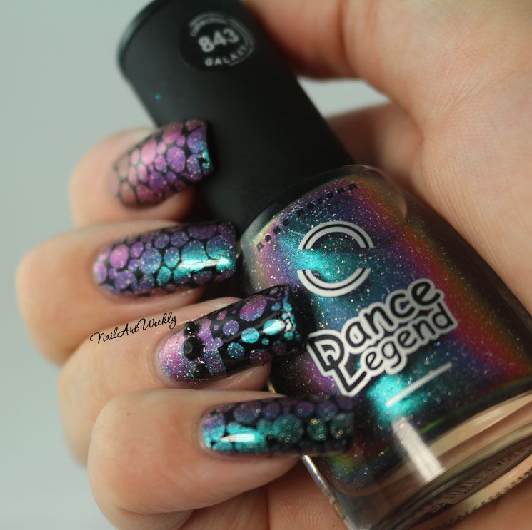 Bubbles: Galaxy Multichrome Holo Stamped Nail Art feat. Dance Legend ...