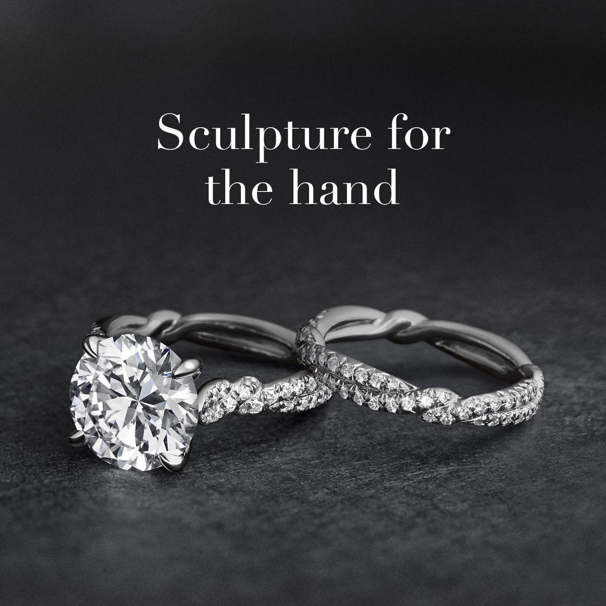 DY Wisteria rings in platinum. Wedding rings engagement