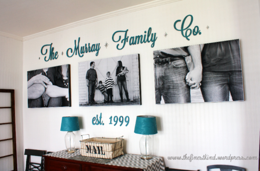 Staples prints, and wood letters... perfect idea for my long wall!