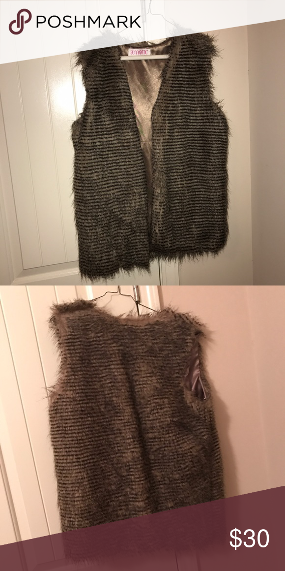 Faux fur vest Never been worn Jackets & Coats Vests
