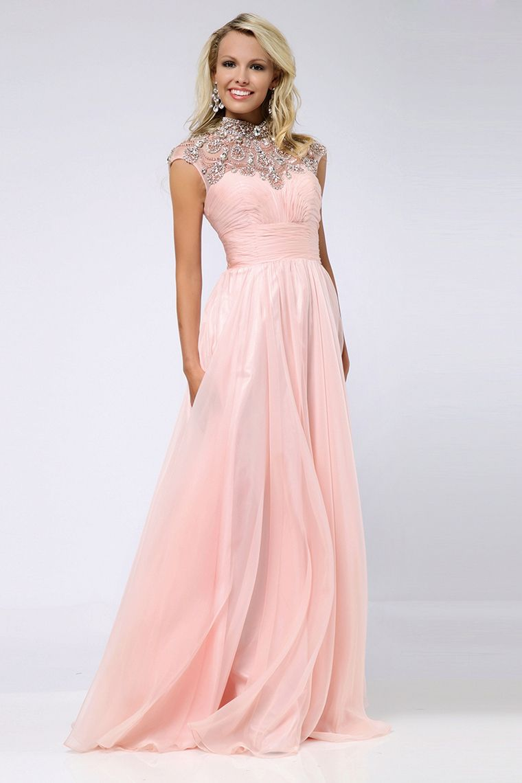 high neck prom dresses aline chiffon with beads and ruffles