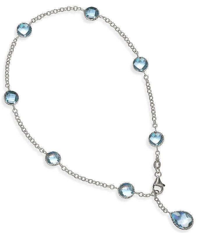 Blue Topaz Ankle Bracelet In 14k White Gold 9 Or 10 Inch Anklet