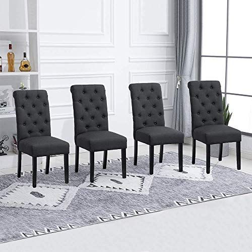 Homesailing Taupe Dining Chair Set Of 4 For Kitchen Restaurant Black Wood Leg Chair Homesailing Kitc Dining Chairs High Back Dining Chairs Side Chairs Dining