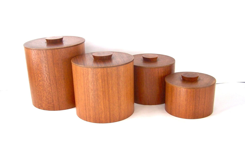 set of  teak canisters wooden canister set modern kitchen  - set of  teak canisters wooden canister set modern kitchen teakwood bylizzietishvintage