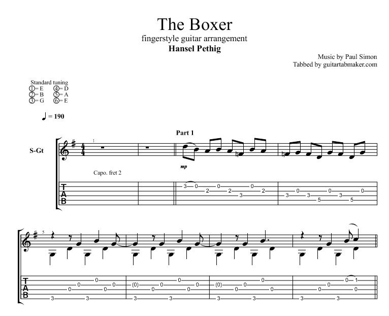 the boxer sheet music pdf