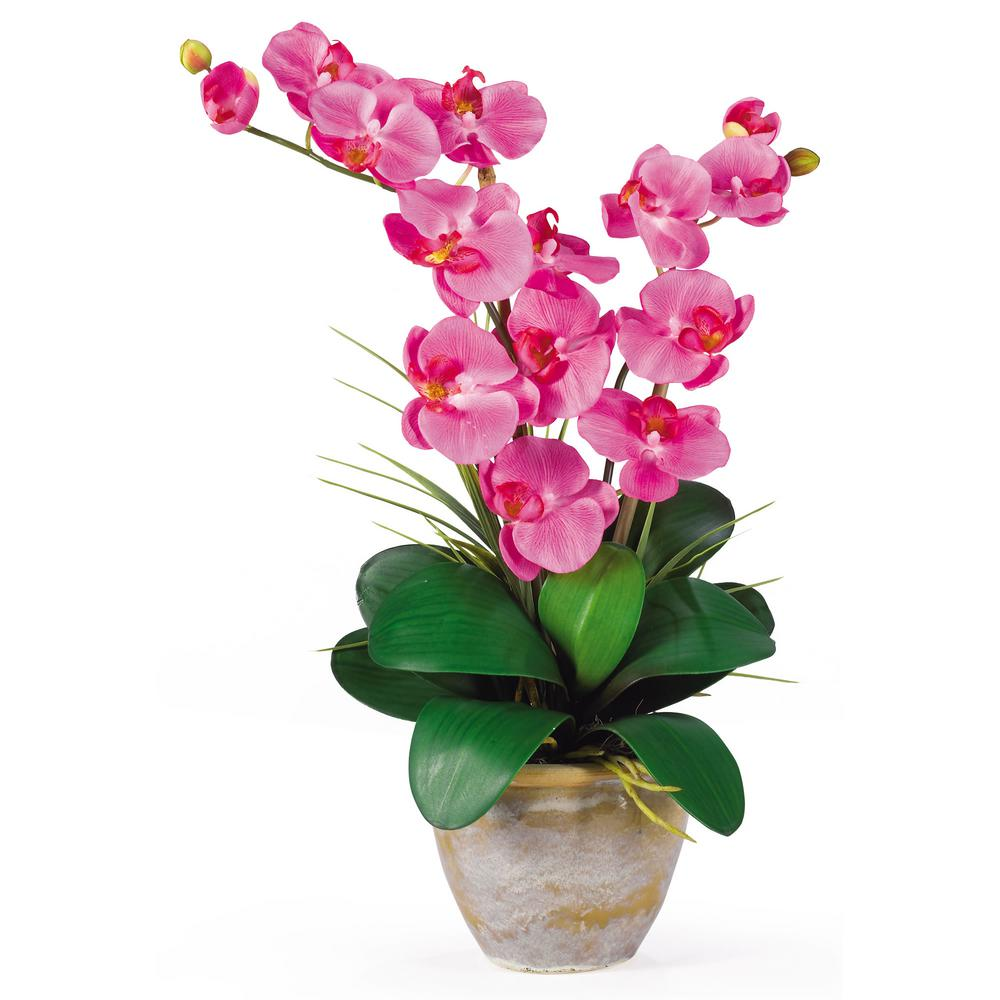 in double phalaenopsis silk orchid flower arrangement in dark