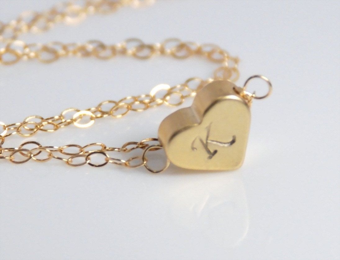 Initial jewelry 14K gold filld necklacestamped heart necklace in