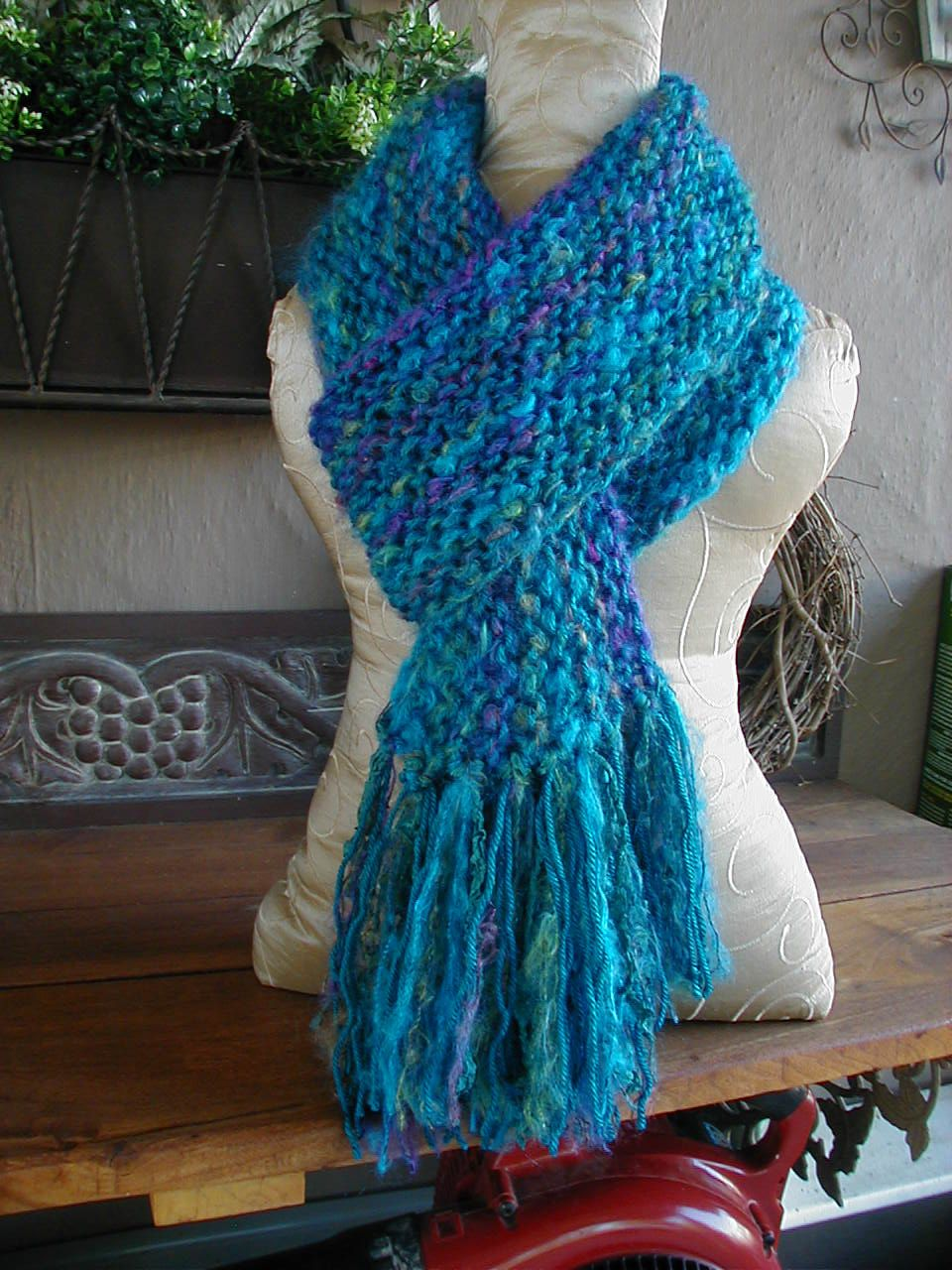 Photo of Hand Knit Scarf, Knit Scarf, Turquoise Scarf, Scarves