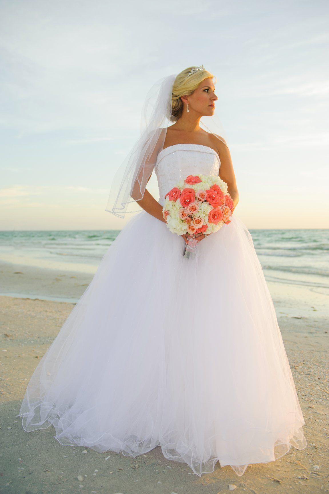 Brandy Chose This Gorgeous Strapless Tulle Dress And An Elbow Length Veil For Her Bea Beach Wedding Attire Beach Wedding Guest Attire Short Wedding Dress Beach [ 1730 x 1151 Pixel ]
