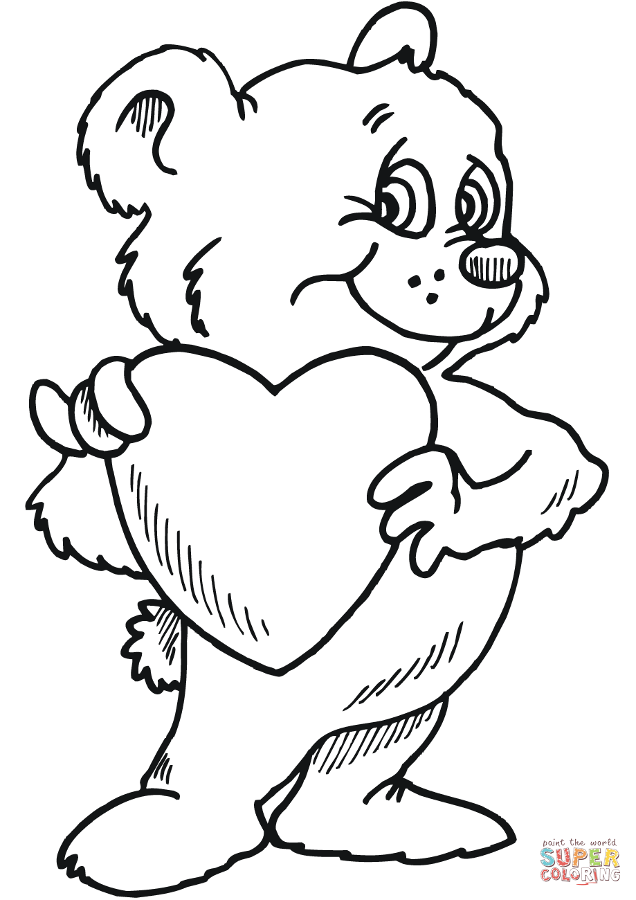 Teddy Bear with Heart coloring page from St. Valentine's ...
