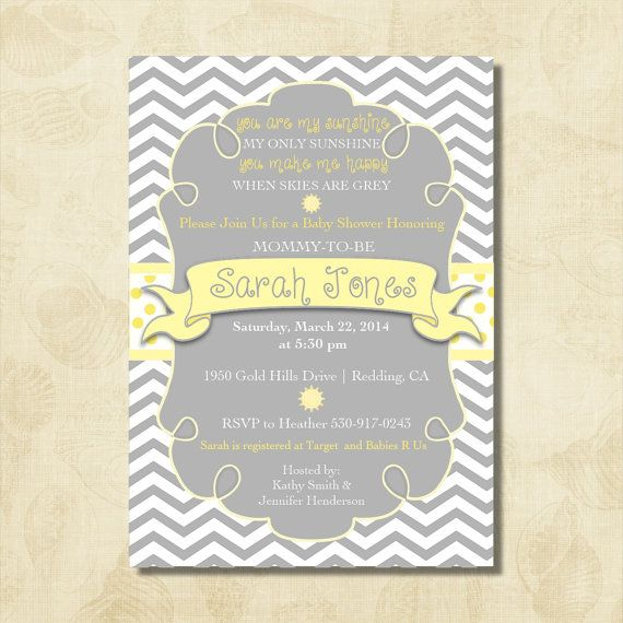 You Are My Sunshine Baby Shower Invitation In Yellow And Grey Gray    Chevron Stripes