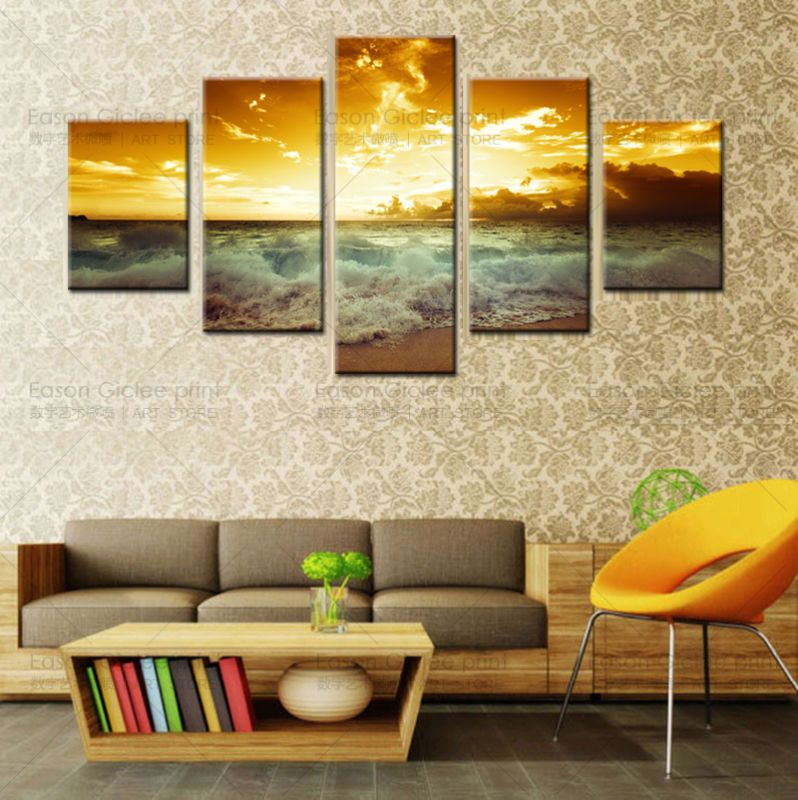 Product Name:Large Decorative Picture Sea setting sun Modern Home ...
