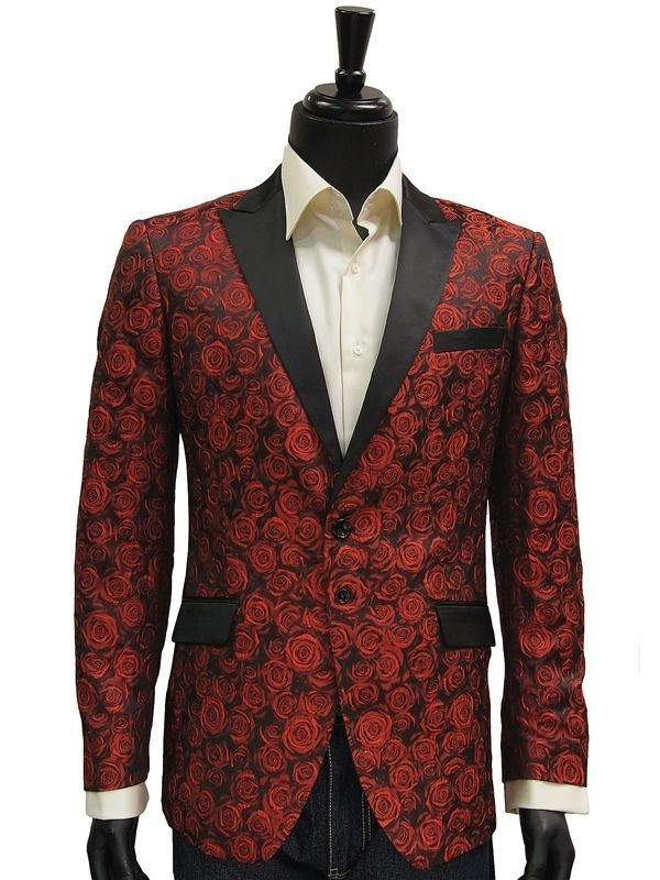 Details about Angelino Mens Red Black Rose Print Tuxedo Two Bttn ...