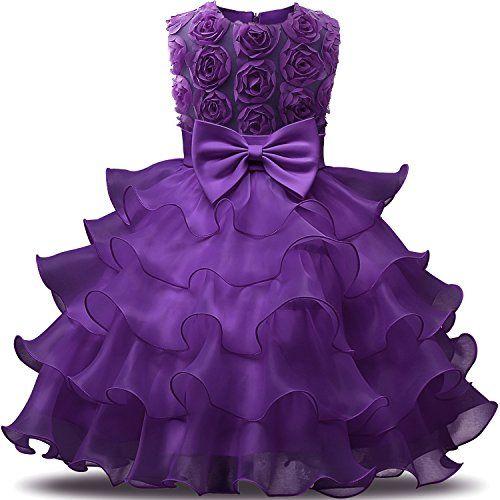 NNJXD Girl Dress Kids Ruffles Lace Party Wedding Dresses Size (90 ...
