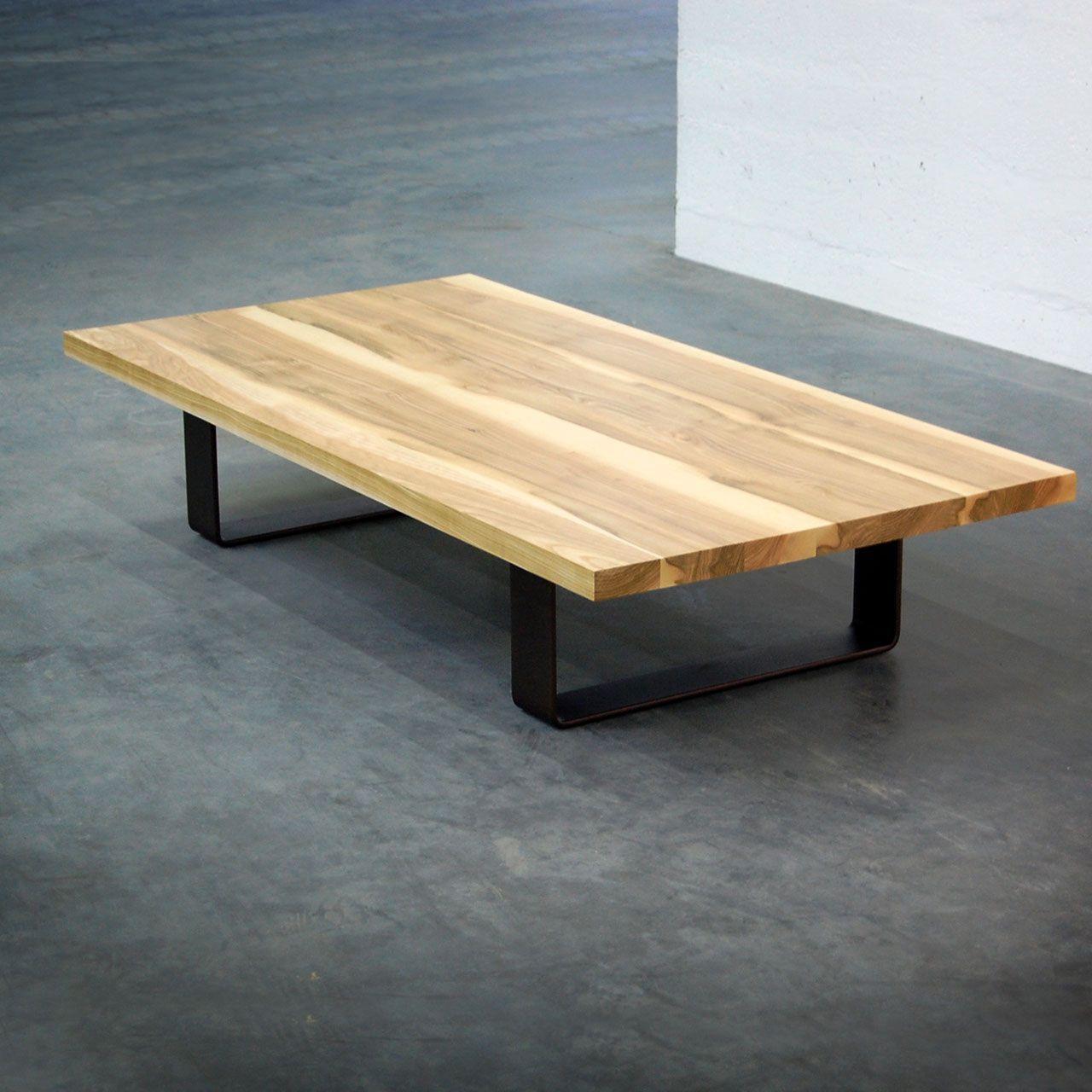 Table Basse Ruban Metal Et Bois Massif Fabrication Artisanale Table Basse Table Basse Bois Massif Table Basse Plateau
