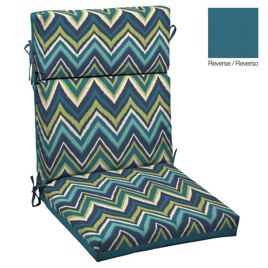 Arden flame blue flame stitch high back chair cushion