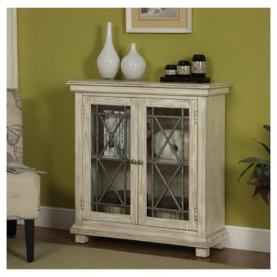 Storage Cabinet Two Glass Door Ivory Christopher Knight Home