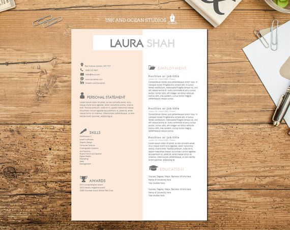 Resume   CV design with cover letter and reference page - WORD - resume reference page format