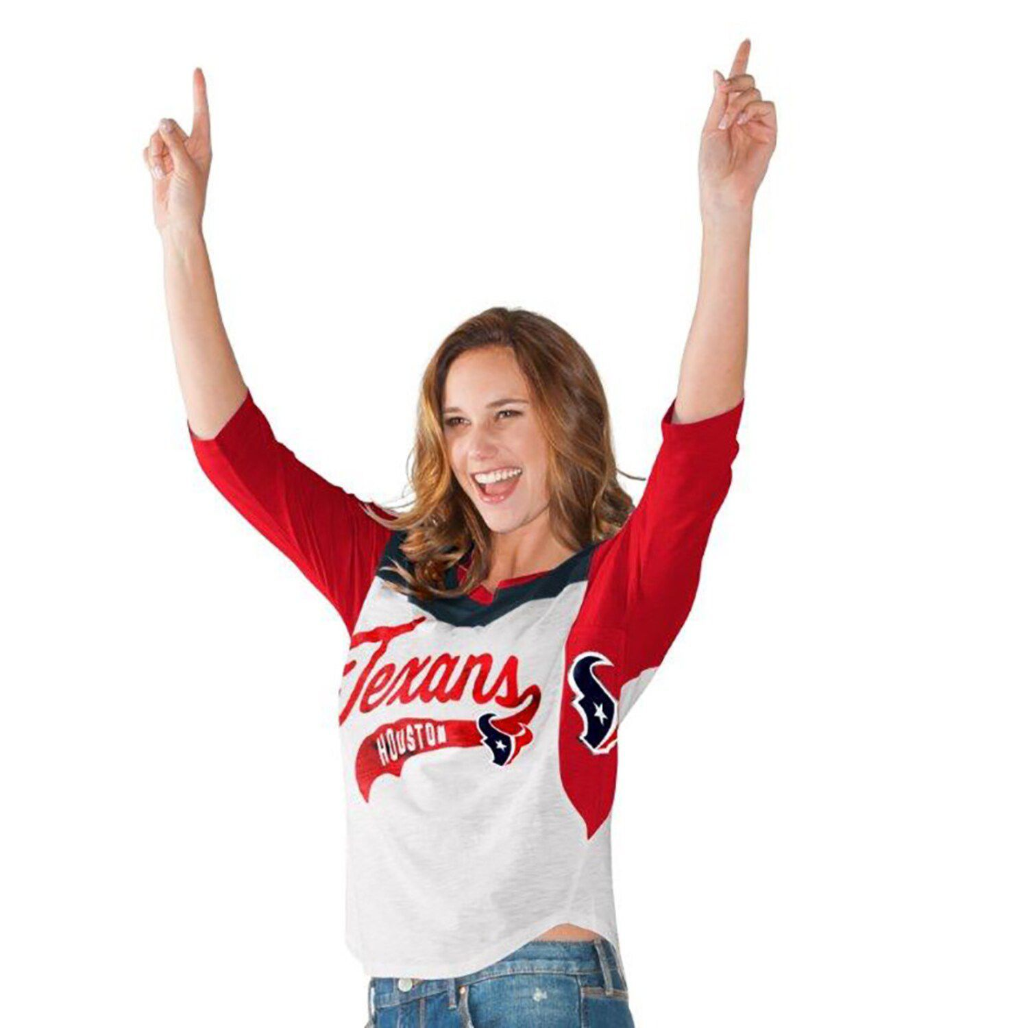 Women S Hands High White Red Houston Texans Season Pass 3 4 Sleeve T Shirt Shirts White Women Three Quarter Sleeves