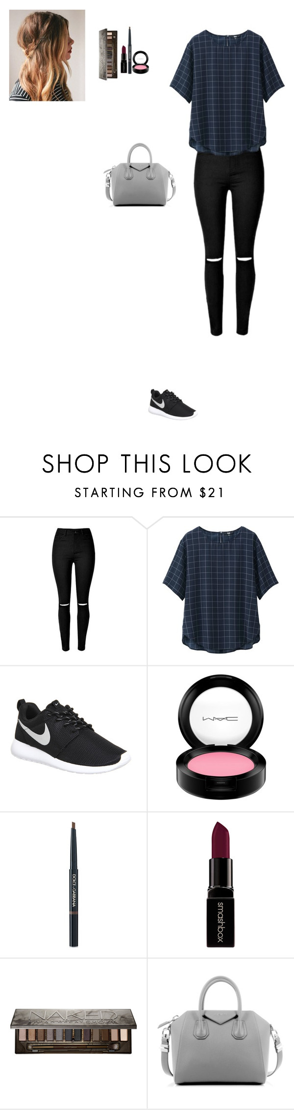 """Untitled #190"" by nicoletteromo ❤ liked on Polyvore featuring Uniqlo, NIKE, MAC Cosmetics, Dolce&Gabbana, Smashbox, Urban Decay, Givenchy, women's clothing, women and female"