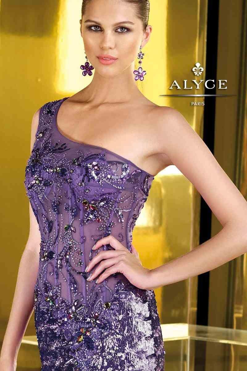 Alyce Paris Purple Beaded Sequin Evening Gown Prom Dress | A Purple ...