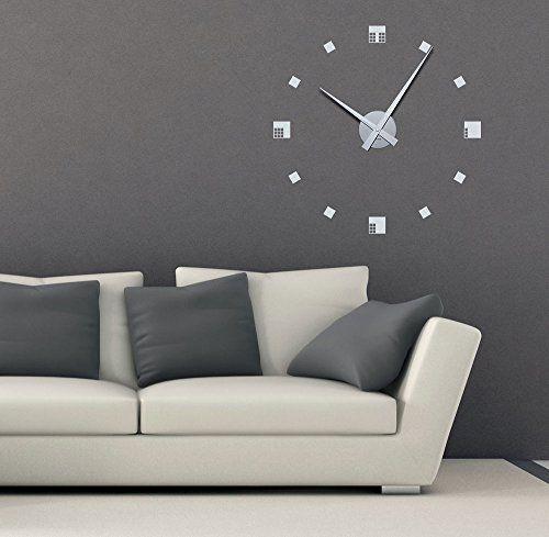 wandtattoo uhr mit uhrwerk wanduhr design quadrate deko fr wohnzimmer uhr silber gebrstet aufkleber - Wohnzimmer Wanduhr