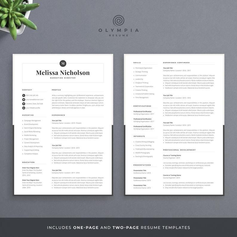 Modern Resume Template Creative Cv For Word Elegant Design With Logo Marketing Designer Teacher Legal Assistant Melissa In 2020 Modern Resume Template Creative Resume Templates One Page Resume Template