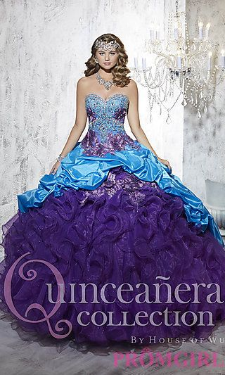 Long Strapless Sweetheart Quince Gown by House of Wu at PromGirl.com #promgirl #quinceanera #gown
