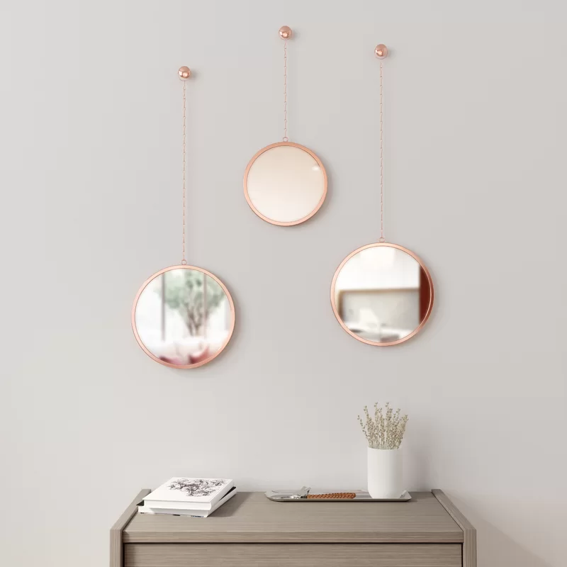 3 Piece Dima Mirror Set Wall Mirrors, How To Hang 3 Small Round Mirrors