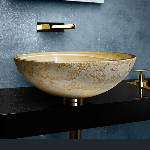WS Bath Collections Luna 44 Vessel Bathroom Sink in Yellow 173