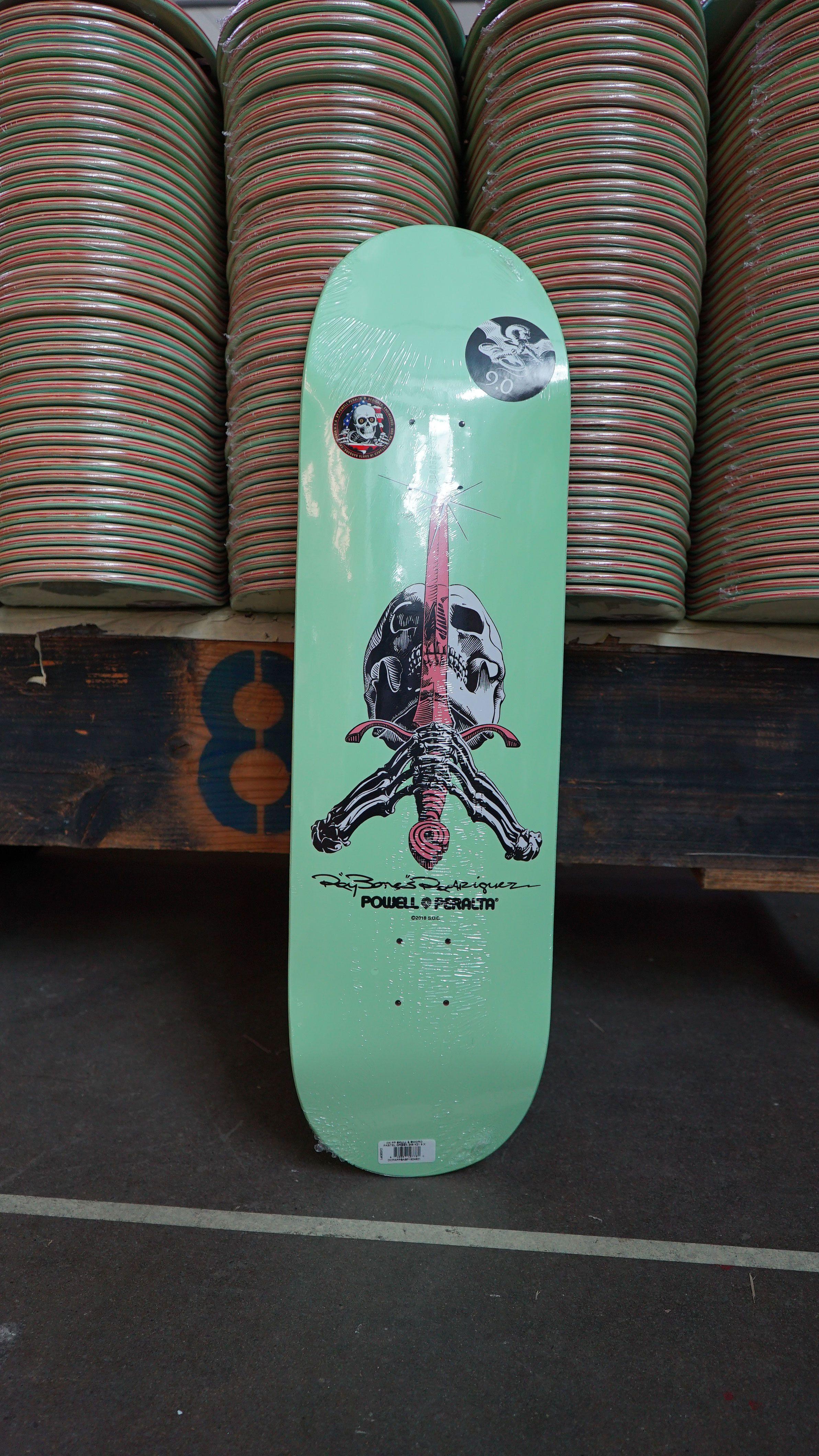 Powell Peralta Skull And Sword Skateboard Deck Pastel Green 246 K21 9 05 X 32 95 Skateboard Deck Art Powell Peralta Skateboard Decks