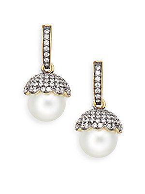 FREIDA ROTHMAN 11MM Round Pearl Bud Cap Drop Earrings - Gold - Size No