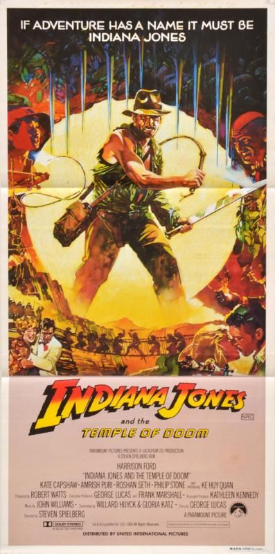 THREE AUSTRALIAN DAYBILL POSTERS FOR INDIANA JONES MOVIES - Price Estimate: $80 - $120