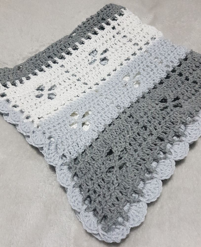 Call the midwife baby blanket grey and white. Cot pram crib car seat ...