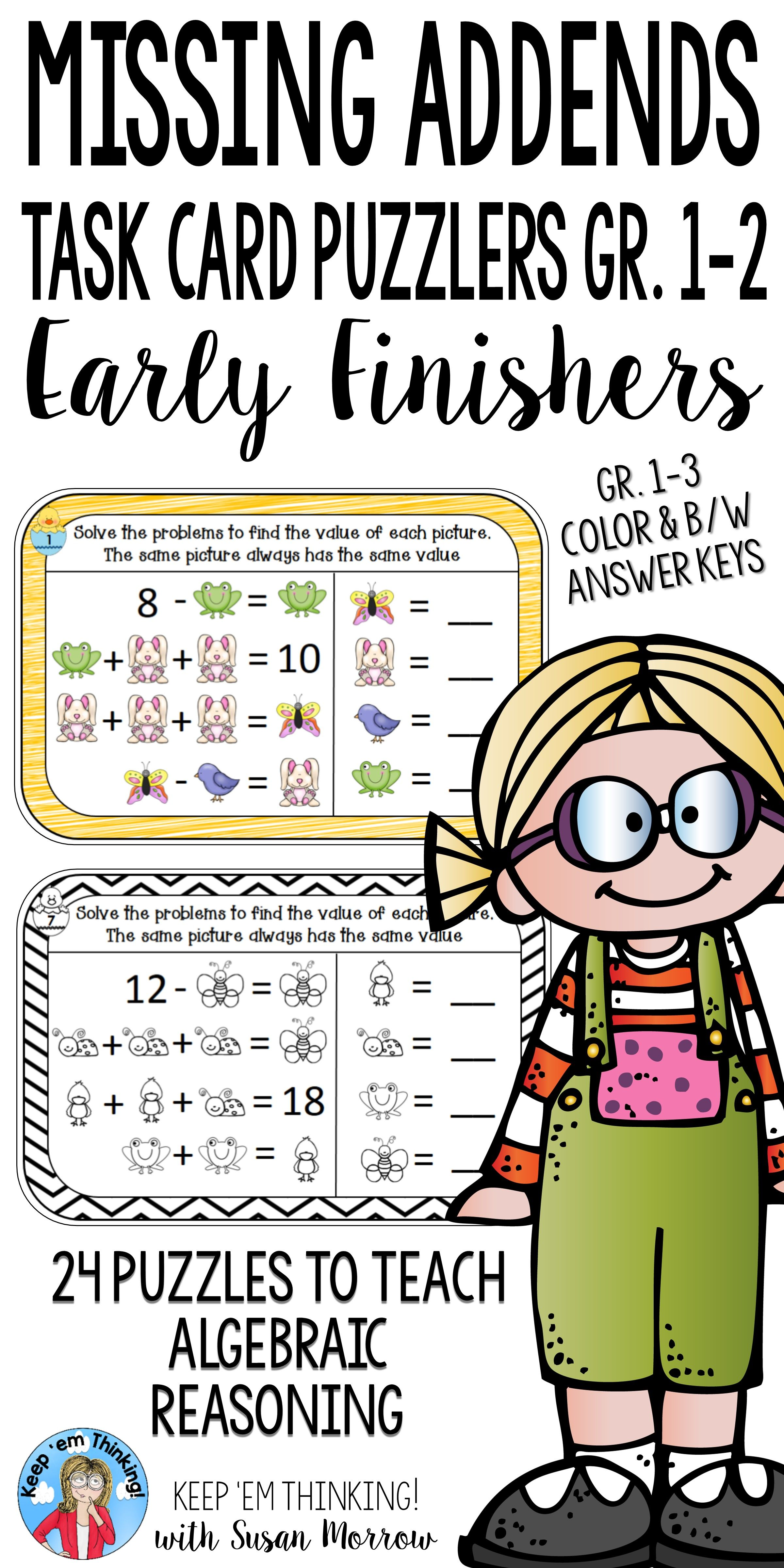 These Missing Addends Puzzles For Algebraic Reasoning For Your First Second Or Homeschool Students Are Perfec Math Logic Puzzles Teaching Gifted Children Math Addition and subtraction reasoning