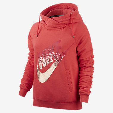 sports shoes c9203 4aa11 Nike Rally Metallic Funnel Neck Pullover Women's Hoodie ...