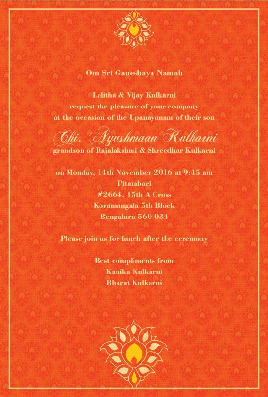 Thread Ceremony Invitations Blessed Blossom Saffron