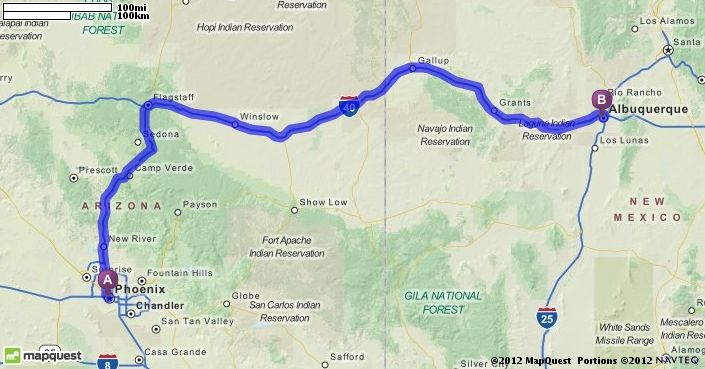Driving Directions from Phoenix, Arizona to Albuquerque, New Mexico ...
