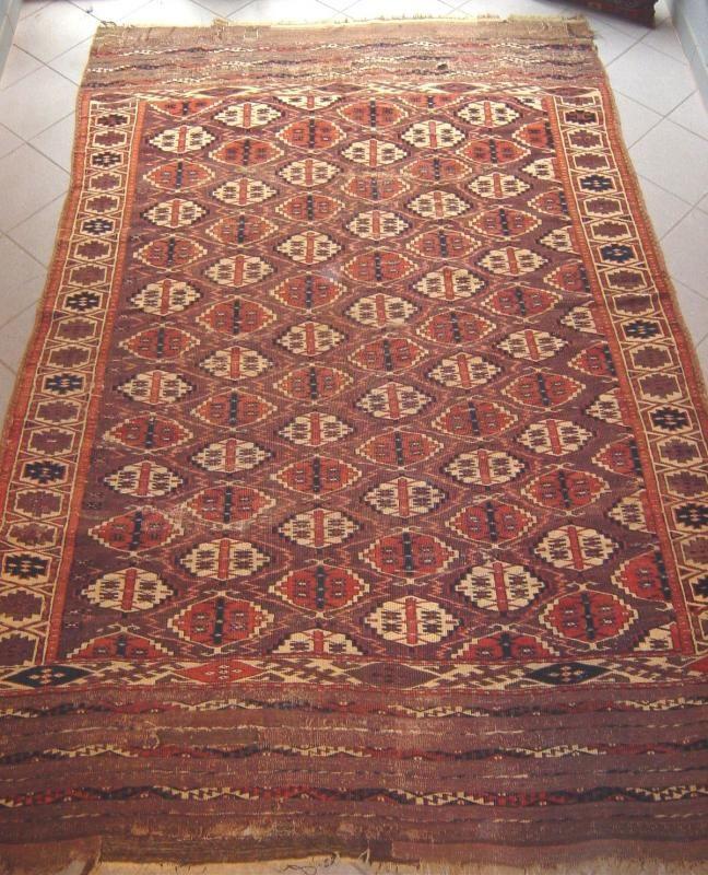 Antique Turkoman Chodor Maincarpet With Rare Kelim Ends And Fantastic Colors Size 220x183 And 40cm Kelim Each End Rugrabbit Turkoman Carpet Repair Antiques