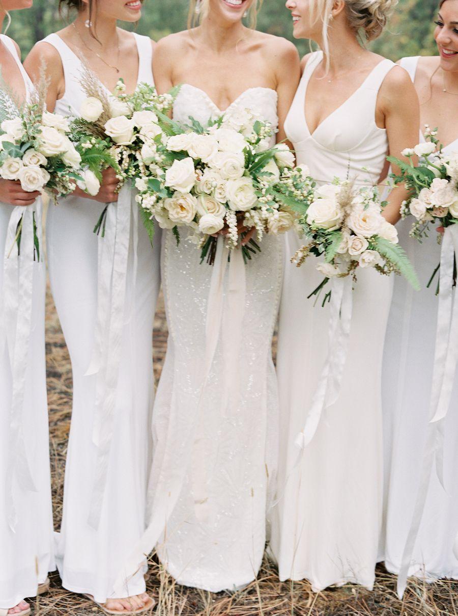 Classic Romantic Backyard Wedding In Montana Classic Wedding Dress Bridesmaid All White Wedding [ 1209 x 900 Pixel ]
