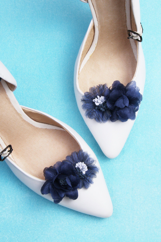 Blue flower shoes, Shoe clips wedding